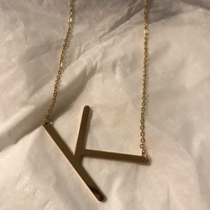 Monogram pendant necklace initial K Anthropologie